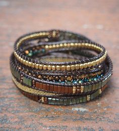 5 times Wrap Bracelet Green Crystal beaded mix Boho by G2Fdesign