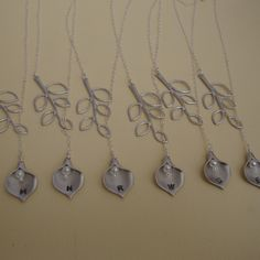 Six Personalized Lariats, hand stamped Callas bridesmaid gifts, maid of honor, mother of bride and groom Wedding jewelry
