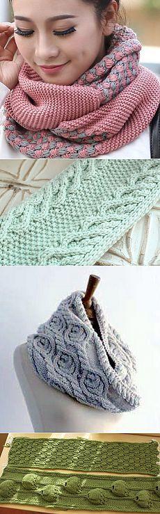 Модные шарфы-СНУДЫ (Snood) спицами 5. Идеи и описания.11 моделей