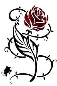 "Tribal Tattoo Rose Beauty and the Beast ""Beauty lies within"""