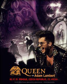 Lovely! MT @creativesharka Poster 02.17.15 PRAGUE @QueenWillRock+@adamlambert Unofficial. Designed by @creativesharka