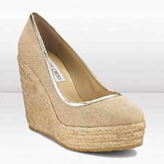 Jimmy Choo Prisha 120mm Natural Canvas And Espadrille Round Toe
