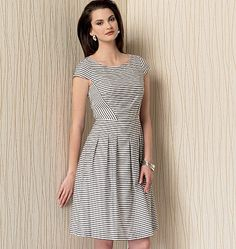 Pretty dress from Anne Klein for Vogue Patterns features cap sleeves, pleats and diagonal seaming. V1499