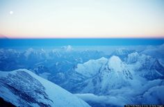 The view from the top of Mt. Everest, at about 29,000 feet.