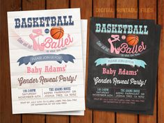 Basketball or Ballet Gender Reveal Invitation by BlueTulipStudio Basketball Gender Reveal, Gender Reveal Games, Baby Gender Reveal Party, Gender Party, Baby Olivia, Olivia Rose, Gender Reveal Party Invitations, March Madness, Reveal Parties