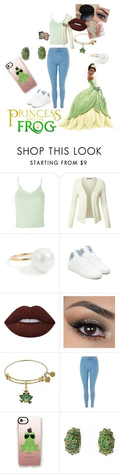 """""""Tiana"""" by kara-meyer ❤ liked on Polyvore featuring Topshop, LE3NO, Aurélie Bidermann, adidas Originals, Lime Crime, Casetify, Simon Harrison and American Coin Treasures"""