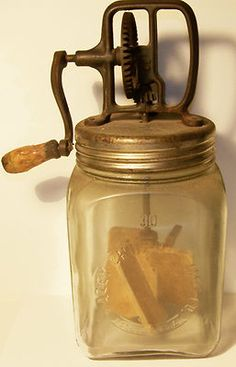 This would be so cute in my kitchen. - Antique Vintage DAZEY BUTTER CHURN #30 3QT RARE 1919 Primitive Glass with Dasher Paddles