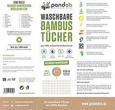 pandoo 100% Bambus Küchenrolle - waschbare Haushaltstücher, umweltfreundliche Papiertücher, ersetzt bis zu 60 Haushaltsrollen, saugstärker und reißfester als herkömmliche Küchentücher: Amazon.de: Drogerie & Körperpflege