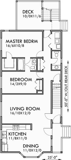 Main Floor Plan for D-439 Stacked Duplex House Plans, duplex house plans with garage, narrow lot duplex plans, up and down duplex house plans, D-439