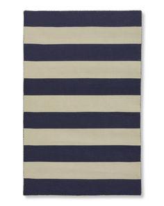 Wide Stripe Dhurrie Rug, Evening Blue