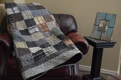 Gorgeous monochrome quilt with men's plaid shirts and grey/black flannels. Love it!  Awesome Etsy listing at http://www.etsy.com/listing/156402839/quilt-upcycle-repurpose-reuse