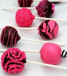 hot pink and black cake pops