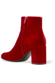Heel measures approximately 70mm/ 3 inches Red velvet Zip fastening along side  Made in Italy