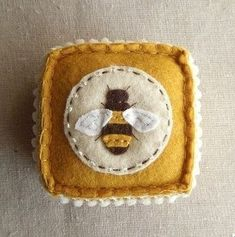The Bee's Reverie, Embroidered Honey Bee Felt Pincushion, Indulgy by marcia Felt Embroidery, Felt Applique, Swedish Embroidery, Fabric Crafts, Sewing Crafts, Sewing Projects, Felt Pincushions, Bee Art, Felt Decorations
