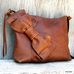 Distressed Cognac Brown Leather Bow Cross Body Bag by Stacy Leigh