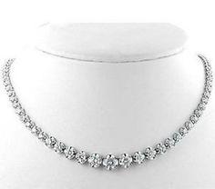 11.50 CT ROUND SHAPE DIAMOND 14K WHITE GOLD NECKLACE STRINGS #diamondnecklace #diamondstring #diamondset #diamondnecklaceset