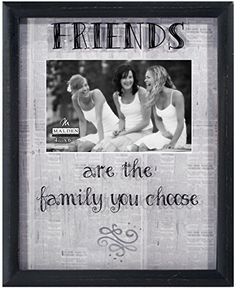 Malden International Designs Newsprint Sentiments Friends Shadow Box with Silkscreen Glass and Printed Mat Picture Frame 4x6 Black