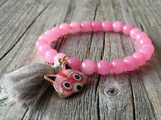 Girls bracelet Gemstone tassel bracelet Girls door KennlyDesign
