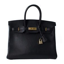 Authentic Hermes 35cm Black Ardenne Leather Birkin Bag