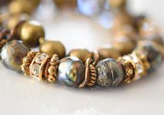 Boho Bracelet/Neutral Bracelet/Shabby Chic Jewelry/Sundance/ Sundance Jewelry/layered/pearl bracelet/ pearl/ unique bracelet/green