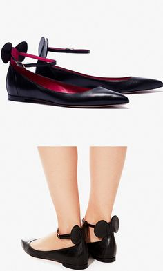 These mouse-eared flats include the brand's signature magenta lining and padded insole for extra comfort. Pretty Shoes, Cute Shoes, Me Too Shoes, Oscar Tiye, Disney Shoes, Cinderella, Shoe Closet, Up Girl, Crazy Shoes