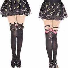 Women Fashion Pink bow Cat Nylon Tights Girls Kawaii Pantyhose Autumn Eyes Of The Cat Pantyhose Sexy cat head tails Stockings