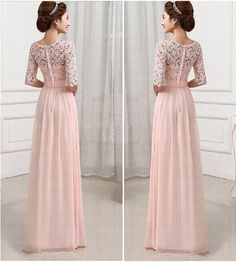 Lace bridesmaid dresses, long sleeve bridesmaid dresses, long bridesmaid dresses, chiffon bridesmaid dresses, cheap bridesmaid dresses, 17120 - Thumbnail 2