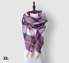 #21 Over Sizes Pink Cream Multie Cashmere Scarf - USA ONLY