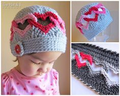 2 CROCHET PATTERNS - Be Mine Hat & Sweetheart Scarf - a valentine heart hat and scarf set - Instant PDF Downloads