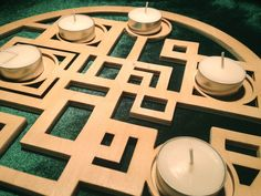 A unique wooden candle tray, product is laser cut with protective polyurethane coating. It is very convenient and easy to create a lovely ambience ...