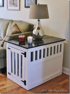 Dog Kennel End Table! Need this!