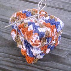 Blue Brown Orange Oriental Colors Spa Wash Cloths, Cotton Washcloths, Crochet Towels Set of 2 by Moomettes Crochet #bath #spa #handmade #crochet