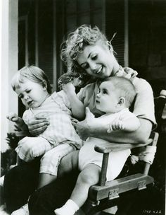 Debbie Reynolds with babies Carrie and Todd.