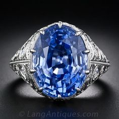 15.42 Carat Natural Unheated Ceylon Sapphire and Diamond Ring - 30-1-4870 - Lang Antiques