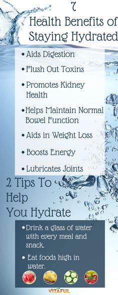 Wellness Tips: Drink Water and Stay Hydrated! Check out 7 Health Benefits of Drinking Water and 2 Tips to Help You Stay Hydrated.