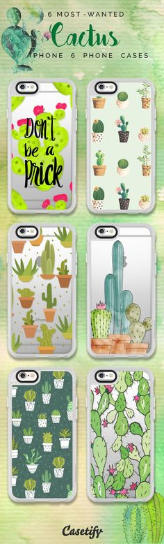 Top 6 Cactus iPhone 6 protective phone case designs | Click through to see more iPhone phone case idea. Plants it on your case! >>> https://www.casetify.com/collections/iphone-6s-cactus-cases#/?device=iphone-6s | @casetify