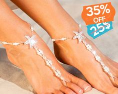 35% SALE Something blue Beaded barefoot sandals Bridal by barmine