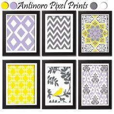Yellow Liliac Grey Modern Inspired  Chevron Bird Ikat Art Prints Collection  -Set of 6 - 8x11Prints - UNFRAMED). $45.00, via Etsy.