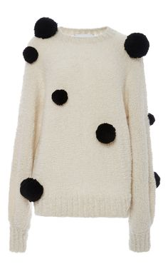Cashmere And Silk Mariko Pom Pom Sweater  by SPENCER VLADIMIR Now Available on Moda Operandi