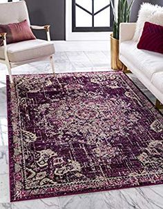 Unique Loom Penrose Collection Traditional Vintage Distressed Purple Area Rug 3 x Funky Living Rooms, Rugs In Living Room, Cozy Living, Living Area, Purple Area Rugs, Beige Area Rugs, Gray Rugs, White Rugs, Shed Colours