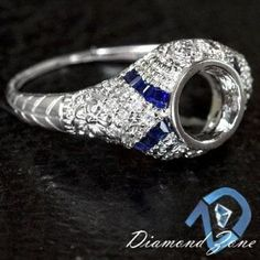 ENGRAVED SEMI MOUNT DIAMOND BLUE SAPPHIRE ART DECO SETTING BEZEL ENGAGEMENT RING #SolitairewithAccents