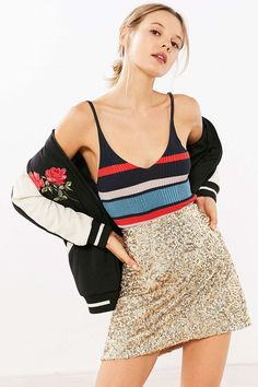 Silence + Noise Sparkle Stripe Sweater Cami - Urban Outfitters