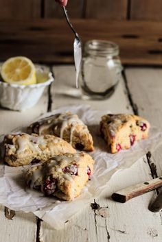 Fresh Cranberry Lemon zest Scones with lemon powder sugar glaze