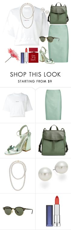 """""""whiteTop"""" by perfectioniststudio ❤ liked on Polyvore featuring Yves Saint Laurent, Armani Collezioni, Ivy Kirzhner, Skagen, AK Anne Klein, Ray-Ban, Maybelline and Bella Freud"""