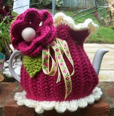 Knit or Crochet Mug Hug Snugs, Tea Cozy/Cosy/Cosies! And other wraps for food items Tea Cosy
