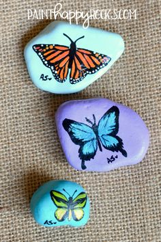 180 best butterfly painted rocks images in 2018 Rock Painting Patterns, Rock Painting Ideas Easy, Rock Painting Designs, Painting For Kids, Happy Rock, Butterfly Painting Easy, Beautiful Boys, Doodle, Bugs