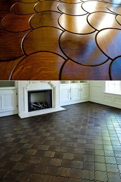 These geometric floor patterns are the most beautiful parquet solutions I have seen.