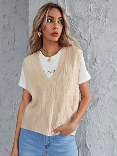 Sweater Vest Outfit, Knit Vest, Sweater Vests, Vest Outfits For Women, Clothes For Women, Beige Vests, Sweater Layering, Cable Knit Sweaters, Streetwear Fashion