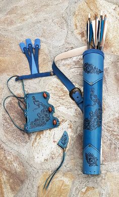 Leather Quiver, Leather Tooling, Tooled Leather, Leather Bag, Archery Set, Archery Hunting, Archery Quiver, Bow Quiver, Hunting Arrows