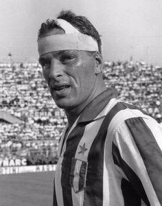 A bandaged up John Charles of Juventus 1962
